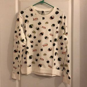 H&M printed sushi sweatshirt. Medium.
